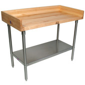 1-3/4'' Thick Maple Top Work Table w/ 4'' Backsplash & Galvanized Steel Base & Shelf, Varnique Finish, Multiple Sizes Available