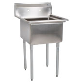 E-Series Compartment Single Bowl Sink 16'' W x 20'' D x 12'' Bowl Depth with No Drainboard, 18-Gauge Stainless Steel