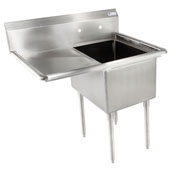 E-Series Compartment Single Bowl Sink 18'' W x 18'' D x 12'' Bowl Depth with 18'' Left Drainboard, 18-Gauge Stainless Steel