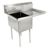 E-Series Compartment Single Bowl Sink 18'' W x 18'' D x 12'' Bowl Depth with 18'' Right Drainboard, 18-Gauge Stainless Steel