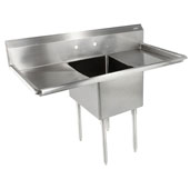 E-Series Compartment Single Bowl Sink 24'' W x 24'' D x 14'' Bowl Depth with 24'' Left and Right Drainboards, 18-Gauge Stainless Steel