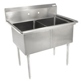 E-Series Compartment Double Bowl Sink (2) 18'' W x 18'' D x 12'' Bowl Depth with No Drainboard, 18-Gauge Stainless Steel