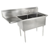 E-Series Compartment Double Bowl Sink (2) 18'' W x 18'' D x 12'' Bowl Depth with 18'' Left Drainboard, 18-Gauge Stainless Steel