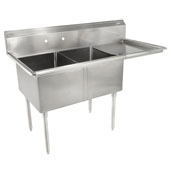 E-Series Compartment Double Bowl Sink (2) 16'' W x 20'' D x 12'' Bowl Depth with 18'' Right Drainboard, 18-Gauge Stainless Steel