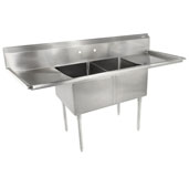 E-Series Compartment Double Bowl Sink (2) 18'' W x 18'' D x 12'' Bowl Depth with 18'' Left and Right Drainboards, 18-Gauge Stainless Steel
