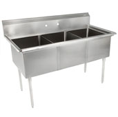 E-Series Compartment Three Bowl Sink (3) 15'' W x 15'' D x 14'' Bowl Depth with No Drainboard, 18-Gauge Stainless Steel