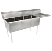 E-Series Compartment Three Bowl Sink (3) 15'' W x 15'' D x 14'' Bowl Depth with 15'' Right Drainboard, 18-Gauge Stainless Steel