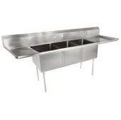 E-Series Compartment Three Bowl Sink (3) 18'' W x 18'' D x 14'' Bowl Depth with 18'' Left and Right Drainboards, 18-Gauge Stainless Steel
