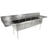 E-Series Compartment Four Bowl Sink (4) 16'' W x 20'' D x 14 Depth with 18'' Left and Right Drainboards, 18-Gauge Stainless Steel