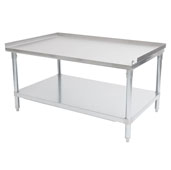 18-Gauge Commerical Stainless Steel Top Equipment Stand 48'' W x 30'' D with 1-1/2'' Rear & Side Riser, Galvanized Legs and Adjustable Shelf