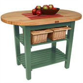 Elliptical C-Table, Basil Green, Multiple Sizes Available with No Shelf, or 1 or 2 Shelves