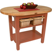 Elliptical C-Table Kitchen Island, Cherry Stain Base with 1-3/4'' Thick Hard Rock Maple Top, (2) Slatted Wood Shelves and Casters, 48'' W x 30'' D, Boos Block Cream w/Beeswax Finish