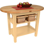 Elliptical C-Table, Natural Maple, Multiple Sizes Available with No Shelf, or 1 or 2 Shelves