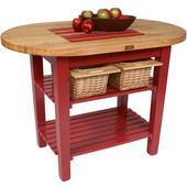 Elliptical C-Table Kitchen Island, Barn Red Base with 1-3/4'' Thick Hard Rock Maple Top, (2) Slatted Wood Shelves and Casters, 48'' W x 30'' D, Boos Block Cream w/Beeswax Finish