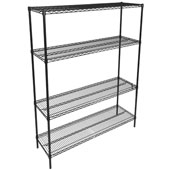 48'' W x 21'' D x 74'' H Black Wire Shelf Kit, Includes (4) Posts and (4) Shelves