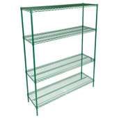 Wire Shelf Only 60'' W x 21'' D, Green Epoxy