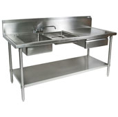 Commercial Prep Table Double Bowl Left Sink 72'' W x 30'' D with 10'' Backsplash, 16-Gauge Stainless Steel, Knockdown