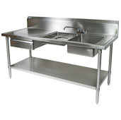 Commercial Prep Table Double Bowl Right Sink 72'' W x 30'' D with 10'' Backsplash, 16-Gauge Stainless Steel, Knockdown