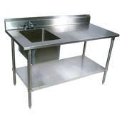Commercial Prep Table Sink Bowl Left Sink 60'' W x 30'' D with 5'' Clip-Down Riser, 16-Gauge Stainless Steel, Galvanized Legs and Shelf