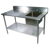 Commercial Prep Table Sink Bowl Right Sink 60'' W x 30'' D with 5'' Clip-Down Riser, 16-Gauge Stainless Steel, Galvanized Legs and Shelf