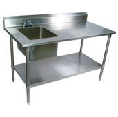 Commercial Prep Table Sink Bowl Left 96'' W x 30'' D with 5'' Clip-Down Riser, 16-Gauge Stainless Steel, Stainless Steel Legs and Shelf