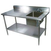Commercial Prep Table Sink Bowl Right 96'' W x 30'' D with 5'' Clip-Down Riser, 16-Gauge Stainless Steel, Stainless Steel Legs and Shelf