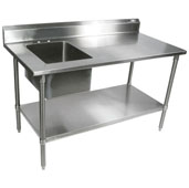 Commercial Economy Prep Worktable Sink Bowl Left 48'' W x 30'' D with 5'' Backsplash, 18-Gauge Stainless Steel, Galvanized Legs and Shelf