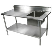 Commercial Economy Prep Worktable Sink Bowl Right 48'' W x 30'' D with 5'' Backsplash, 18-Gauge Stainless Steel, Galvanized Legs and Shelf