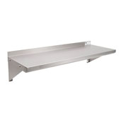 EWS8 Series 18-Gauge Type 430 Stainless Steel Wall Shelf 24'' W x 12'' D with 1-1/2'' Rear High Riser