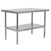 E-Series 96'' W x 24'' D Economy Work Table with 18-Gauge Stainless Steel Flat Top, Galvanized Legs and Adjustable Shelf