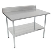 E-Series 60'' W x 24'' D Economy Work Table with 18-Gauge Stainless Steel Top, 5'' Riser, Galvanized Legs, Adjustable Shelf and Knocked Down