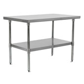 E-Series 48'' W x 30'' D Economy Work Table with 18-Gauge Stainless Steel Flat Top, Stainless Steel Legs and Adjustable Shelf