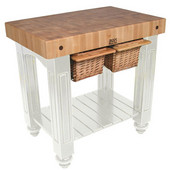 Gathering Block II Kitchen Island with 4'' Thick End Grain Maple Top and 2 Pull Out Wicker Baskets, 36'' W x 24'' D x 36''H, Alabaster