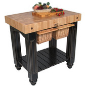 Gathering Block II Kitchen Island with 4'' Thick End Grain Maple Top and 2 Pull Out Wicker Baskets, 36'' W x 24'' D x 36''H, Black