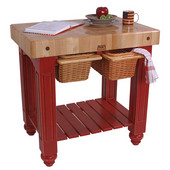 Gathering Block II Kitchen Island with 4'' Thick End Grain Maple Top and 2 Pull Out Wicker Baskets, 36'' W x 24'' D x 36''H, Barn Red