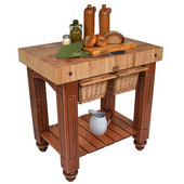 Gathering Block II Kitchen Island with 4'' Thick End Grain Maple Top and 2 Pull Out Wicker Baskets, 36'' W x 24'' D x 36''H, Cherry