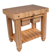 Gathering Block II Kitchen Island with 4'' Thick End Grain Maple Top and 2 Pull Out Wicker Baskets, 36'' W x 24'' D x 36''H, Natural Maple