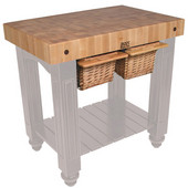Gathering Block II Kitchen Island with 4'' Thick End Grain Maple Top and 2 Pull Out Wicker Baskets, 36'' W x 24'' D x 36''H, Useful Gray