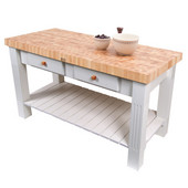 Grazzi Kitchen Island with End Grain Maple Top, 60'' W x 28'' D x 35''H, Alabaster