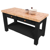 Grazzi Kitchen Island with End Grain Maple Top, 60'' W x 28'' D x 35''H, Black