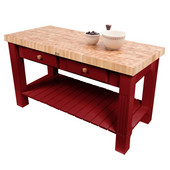 Grazzi Kitchen Island with End Grain Maple Top, 60'' W x 28'' D x 35''H, Barn Red