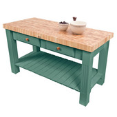 Grazzi Kitchen Island with End Grain Maple Top, 60'' W x 28'' D x 35''H, Basil Green