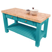 Grazzi Kitchen Island with End Grain Maple Top, 60'' W x 28'' D x 35''H, Caribbean Blue