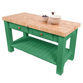 Grazzi Kitchen Island with End Grain Maple Top, 60'' W x 28'' D x 35''H, Clover Green