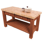 Grazzi Kitchen Island with End Grain Maple Top, 60'' W x 28'' D x 35''H, Cherry Stain