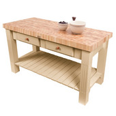 Grazzi Kitchen Island with End Grain Maple Top, 60'' W x 28'' D x 35''H, Natural Maple