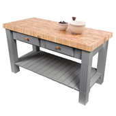 Grazzi Kitchen Island with End Grain Maple Top, 60'' W x 28'' D x 35''H, Slate Gray