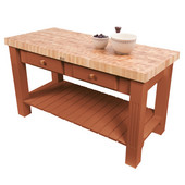 Grazzi Kitchen Island with End Grain Maple Top, 60'' W x 28'' D x 35''H, Spicy Latte