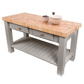 Grazzi Kitchen Island with End Grain Maple Top, 60'' W x 28'' D x 35''H, Useful Gray Stain