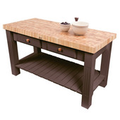 Grazzi Kitchen Island with End Grain Maple Top, 60'' W x 28'' D x 35''H, Walnut Stain